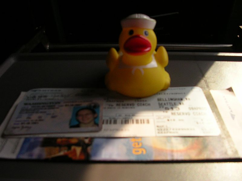 Here's duck on the train down to Seattle.  He wants to know if he should show his id.