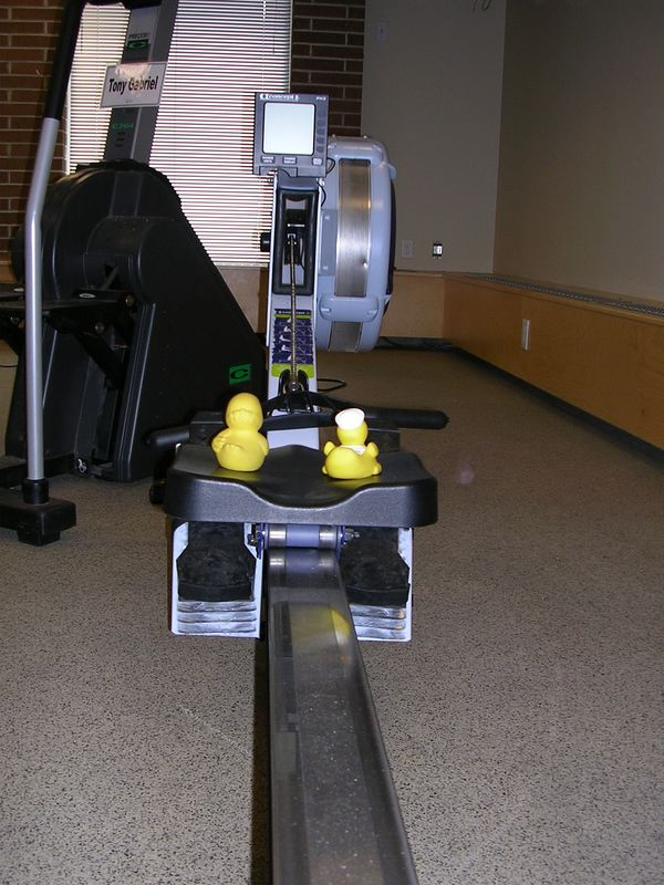 then them moved to the rowing machine.