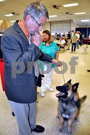 -Messenger photo by Joe Sutter<br /> <br /> Rory Friedow, of Kanawah, walks with Quincy, one of his Belgian Tervuren, before taking the ring at the American Kennel Club dog show Sunday. Friedow is a veterentarian at JRGs.