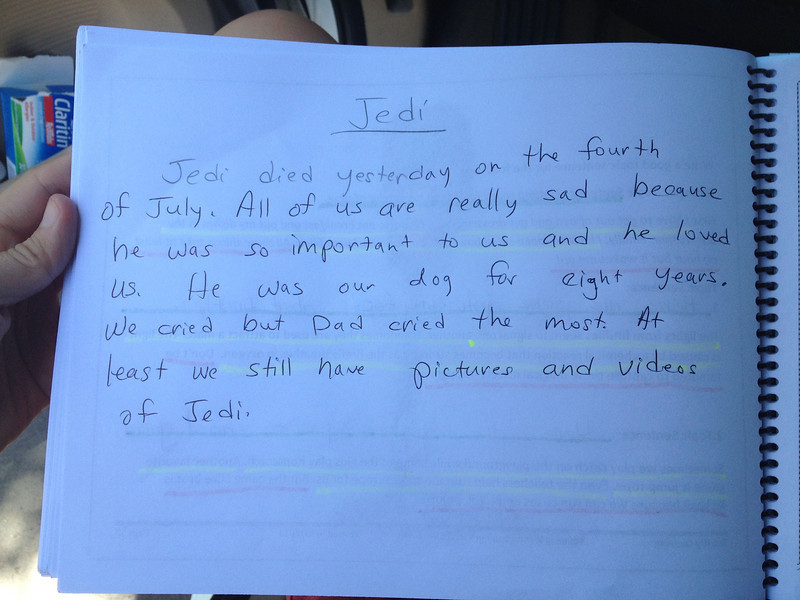Letter our seven year-old twins, Leia and Logan, wrote for their writing class the day after Jedi died.