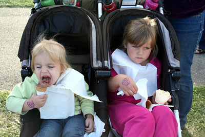 Makenna enjoying her ice cream. Anissa was in deep thought while eating her ice cream.