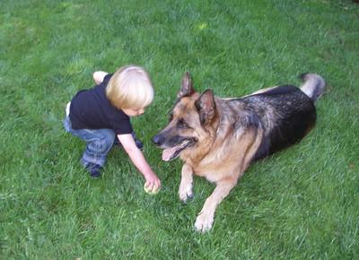 Grant and Nika playing ball.