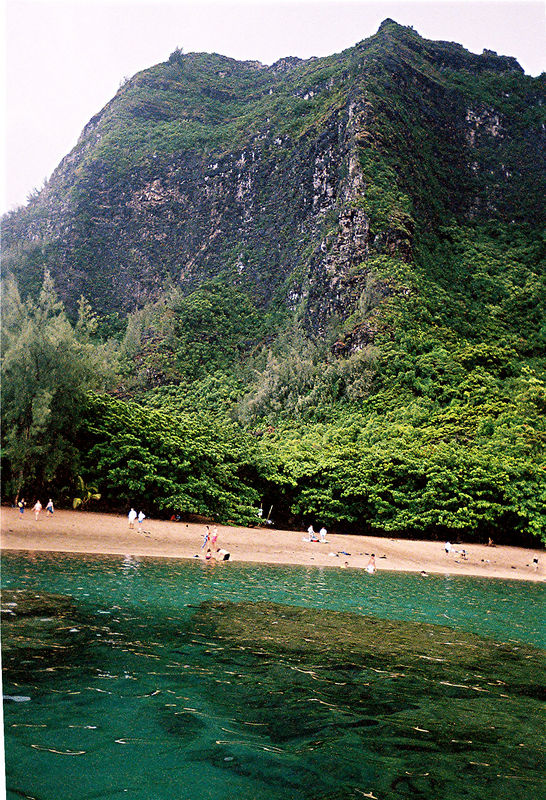 Ke'e beach at the end of the only road going around the  North coast of Kauai.