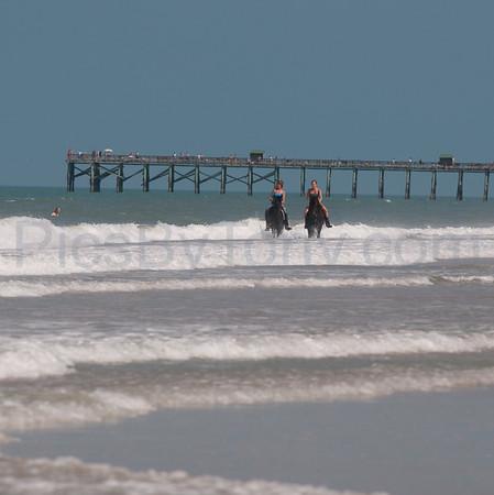 Women Riding Horses on Flagler Beach, FL on Sat June 11, 2010