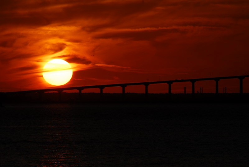 Sunset over bridge to Brunswick, Ga