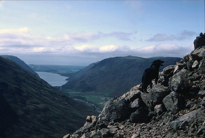 "On the ""Climbers Traverse"" of Great Gable, with Wast Water below, in the English lake District"