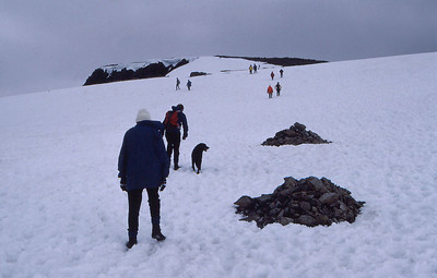 Approaching the summit of Ben Nevis, Britain's highest mountain, in June(!). Kelly climbed Ben Nevis 3 times.
