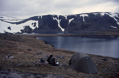 Wild camping by Loch Etchachan in the Cairngorm Mountains