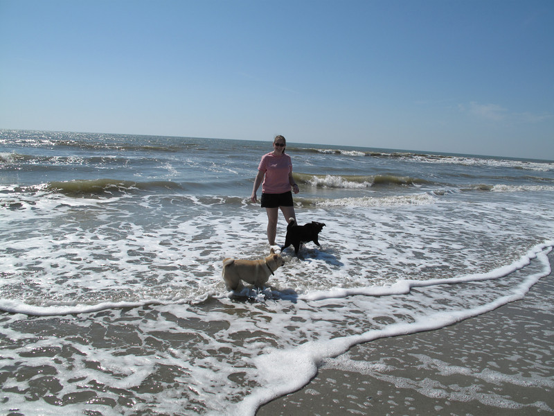 Kenda's first trip to the beach - Folly Island, SC 13 March 2011 Me, Kenda and dog-passerby Henry.