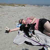 Kenda's first trip to the beach - Folly Island, SC 13 March 2011. Relaxation time.