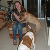My daughter with the dogs, Bibi and Zach.