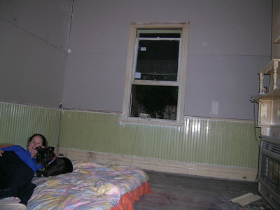 More renovating. This is a warm room, it has plaster on the walls now. (Note Window still open coz of plaster dust)
