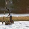 Namibian fisherman in a mokoro (dugout canoe)
