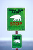 Polar Bear Alert Sign, Hudson Bay Area Near Churchill, Manitoba, Canada
