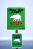 Polar Bear Alert Sign, Hudson Bay Area Near Churchill, Manitoba, Canada