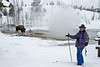 Model Released, Cross-Country Skier, Winter, Bison, Thermal Area, Water in three states, Upper Geyser Basin, Yellowstone National Park, Wyoming, USA, North America