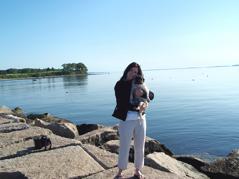 Olsen and Me on the Breakwater in Rockport, ME