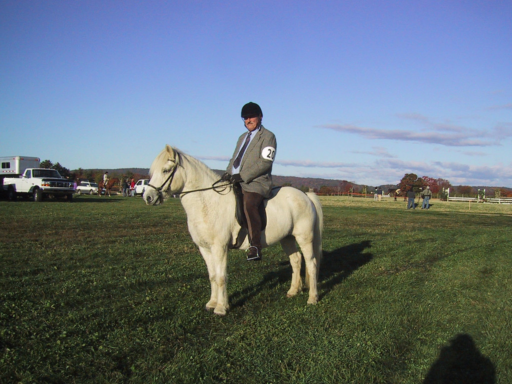 "A horse show at Town Hill.  I was talked into going in a walk-trot class but we did not score well.  That's to say I was told we really went well, but we did not have the right ""look"".  Either the horse was too small or the rider was too tall.  Take your pick.  But it got me to wear a jacket and tie..."