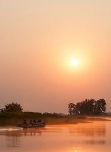 Sunrise Cuiaba River, Pantanal, Brazil
