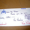 Mrs. Palmore: Brooke and my lunch mate. <br /> Note from Penny Chenery Tweedy owner of Secretariat 10/16/73.<br /> Kate Tweedy, her daughter signed it today March 27, 2010. Note goes with the previous picture.