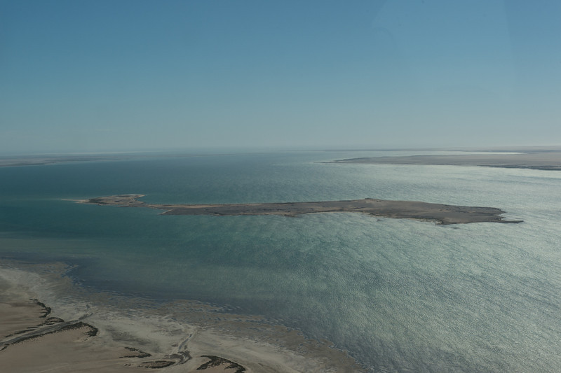 View from the plane of the lagoon
