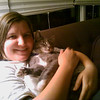 Frances and the cat, relaxing together...