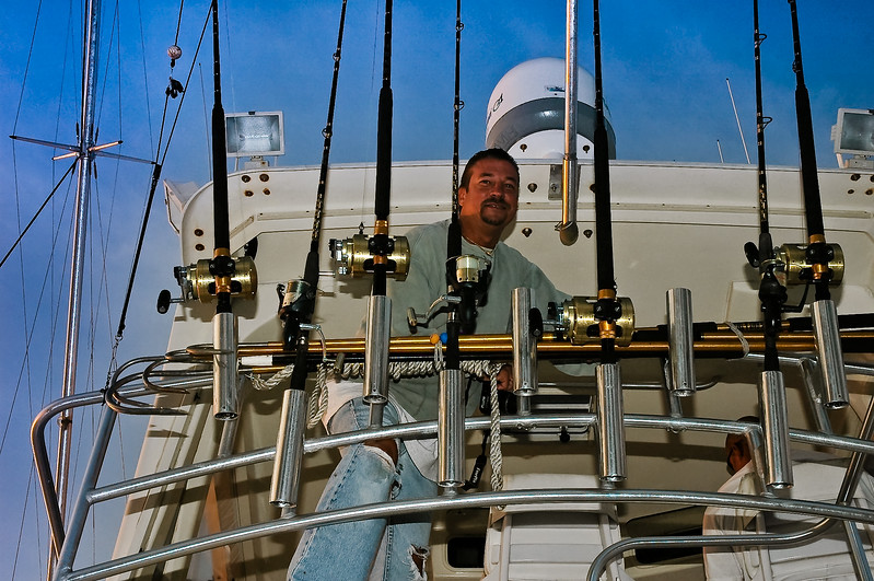 Vadj hangs out on the bridge with our shark rigs