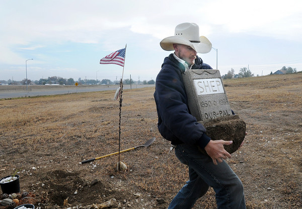 Justin Kent, Broomfield Parks, carries the original grave marker for Shep the Turnpike Dog during the move of Shep's grave from the intersection of Hwy. US 36 and Hwy. 121 to the Depot Hill Museum on Wednesday.<br /> October 14, 2009<br /> Staff photo/David R. Jennings