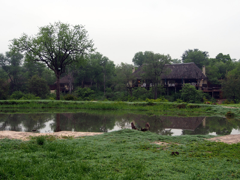 The lounge and dining hall of the Simbambili Game Lodge is to the right; one of the eight guest cabins is visible to the left.