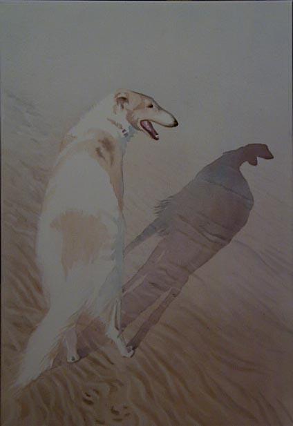 Painting of Singer by breeder/judge/artist/friend, Susan Sills.