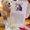 This teddy bear, flower and note where found in the Clark's mailbox at their home in Winchendon on Wednesday from someone that felt bad about what happened to the Clarks dog Snoopy who was found dead, hanging from a tree in the yard, after only being outside for 25 minutes. SENTINEL & ENTERPRISE/JOHN LOVE