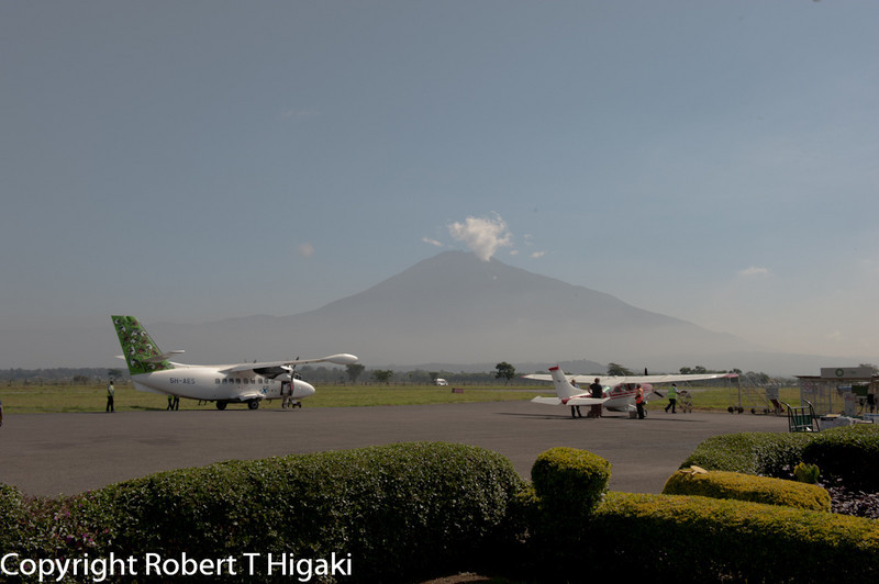 Airport in Arusha; Kilimangaro in the background.
