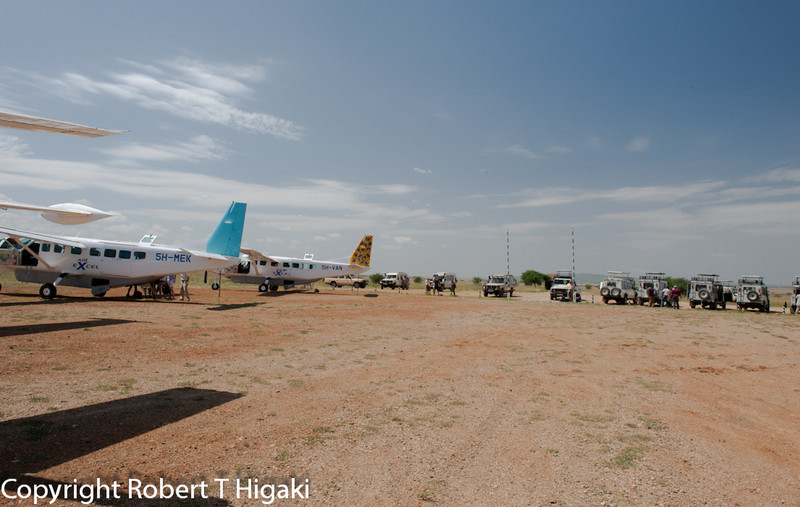 Seronera airstrip in the middle of the Serengeti where our vehicles and guides are waiting for us.