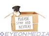 "A puppy in a cardboard box with a ""Please Spay and Neuter!"" sign on the front."