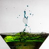 Martini glass Green splash/Blue