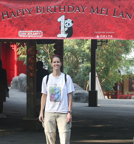 Here's Dianne standing under the birthday banner.  Zoo Atlanta previously allowed visitors to sign the banner.