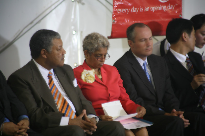 "The Fulton County Commission Chair, Robert Pitts; City of Atlanta Mayor Shirley Franklin; and Georgia Lt. Governor Casey Cagle (he's not sleeping, he blinked!).  The guy on the right with his head turned is the Deputy Mayor of ""there"" - the city in China that sent the pandas to Atlanta."