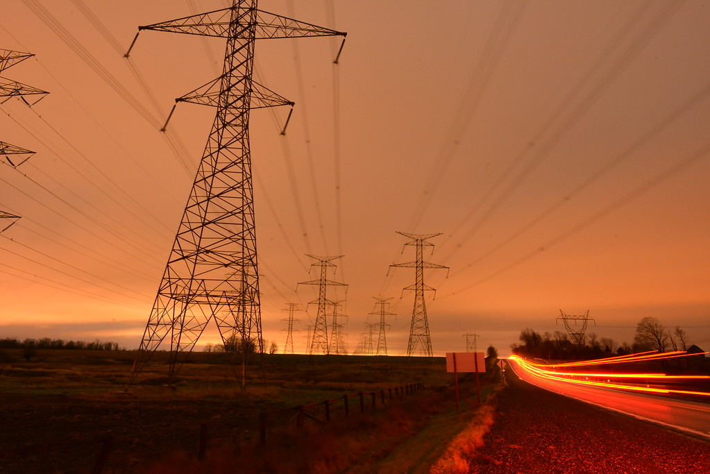 Hydro Lines at Sunset