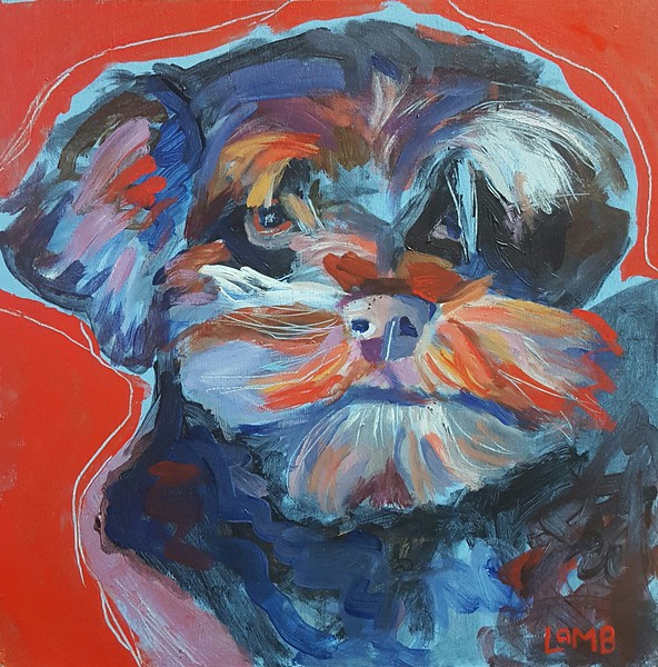 Level II Dog Portrait, Acrylic on Panel, for Annette