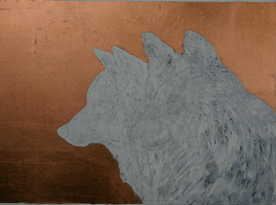 The beginning of FIRE STORM, Copper leaf and Graphite pencil over Golden Heavy  Gel Gloss