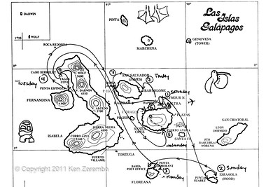 Map of our Galapagos Island journey, 11/01/08