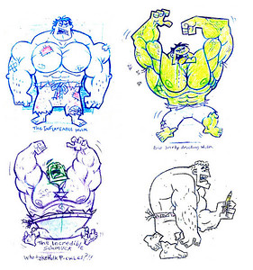 Nickelodeon Character design test Hulk concepts for the fairly odd parents show