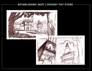 Spooky toy store establishing shots