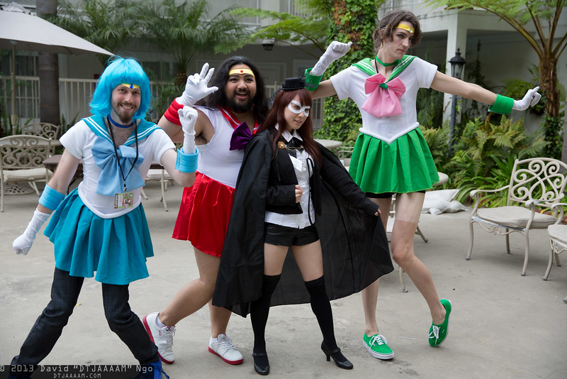 Sailor Mercury, Sailor Mars, Tuxedo Mask, and Sailor Jupiter