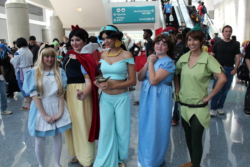 Alice, Snow White, Princess Jasmine, Wendy, and Peter Pan