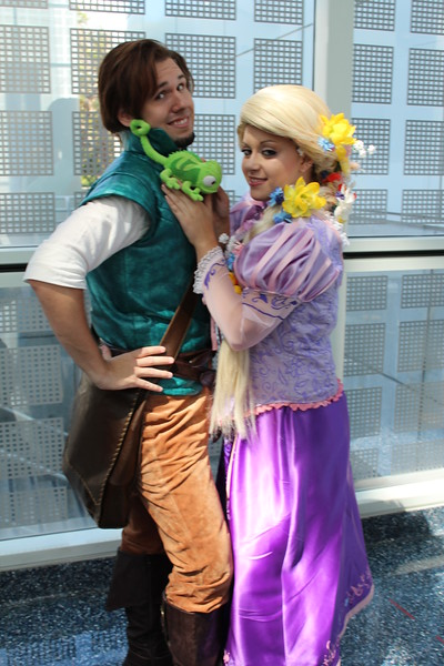 Flynn Rider, Rapunzel, and Pascal