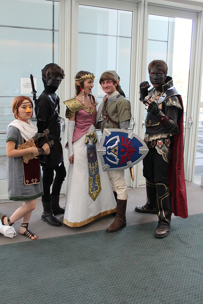 Medli, Dark Link, Princess Zelda, Link, and Ganondorf
