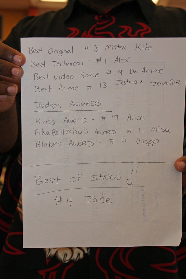 Best Original - #3 Mister Kite<br /> Best Technical - #1 Alex<br /> Best Video Game - #9 Dr. Anime<br /> Best Anime - #13 Jeshua & Jennifer<br /> <br /> Judges Awards<br /> Kim's Award - #19 Alice<br /> PikaBellechu's Award - #11 Misa<br /> Blake's Award - #5 Usapp<br /> <br /> Best of Show - #4 Jode
