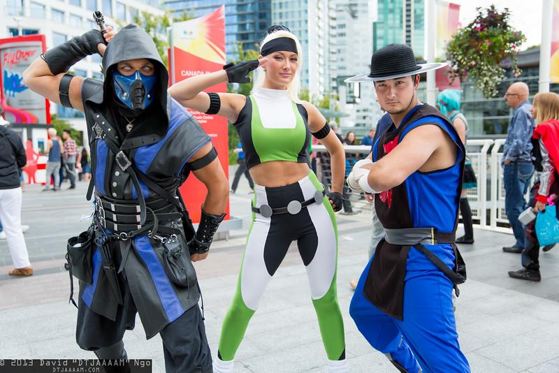 Sub-Zero, Sonya Blade, and Kung Lao