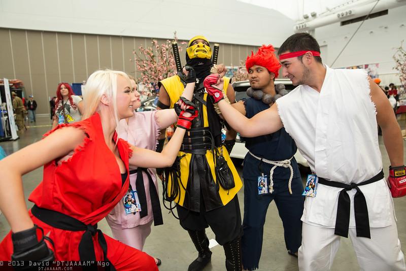 Ken Masters, Dan Hibiki, Scorpion, Akuma, and Ryu